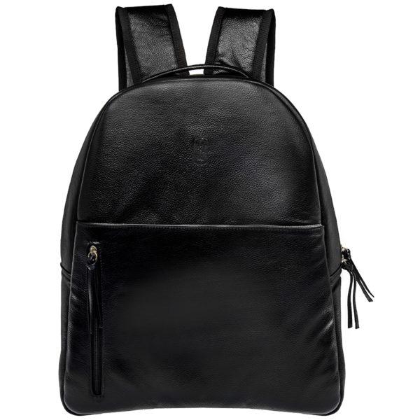 mochila de piel negra para hombre